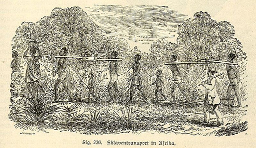 Slaves being transported, 19th-century engraving.