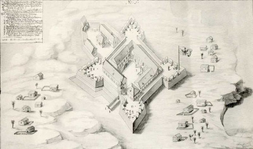 View of Groß-Friedrichsburg from 1686, the dwellings of the Africans located outside.
