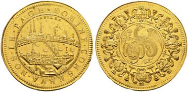Los 2069: 30 Dukaten o. J. (um 1700). Stempel von Justin de Beyer (1668-1738). D.T. 737, Anm. (25 Dukaten). HMZ 2-77b, Anm. Fr. 31a (dieses Exemplar), Unikat. Von allergrösster Seltenheit. FDC. Kabinettstück ersten Ranges in prachtvoller Erhaltung. Schätzung: 500'000 CHF. Zuschlag: CHF 725'000.