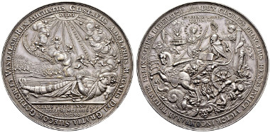 Lot 3686: Gustav II. Adolph, 1611-1632 Silver medallion in weight of 5 talers 1634. Maué 35. Dav. 275 A (as 5 talers under Erfurt). Very rare. Good extremely fine. Splendid specimen of this medal. Estimate: CHF 7'500. Result: CHF 14'000.