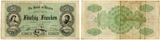 Lot 5433: Lucerne. Bank in Luzern. 50 Franken of 1. January 1877. Compare Richter/Kunzmann KA135a (There only as formula, no signed specimens known. Pick S386a. With signature of Leodegar Corraggioni. Of highest rarity. Folded several times and 1 needle hole. III. Estimate: 8'000 CHF. Result: 15'000 CHF.
