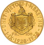 Los 1016: Zogu I. 1928-1939. 100 Franga Ar 1938 Rom, zum 10 jährigen Regierungsjubiläum. Fb. 15, Auflage 500 Stk. II+. Rufpreis: 2.200 Euro.