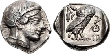 417581: ATTICA, Athens. Circa 454-404 BC. Tetradrachm. Kroll 8; SNG Copenhagen 31; SNG München 49; Dewing 1591-8; HGC 4, 1597. EF. Struck on a broad flan.