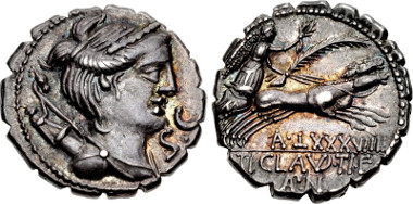 411607: Ti. Claudius Ti.f. Ap.n. Nero. 79 BC. Serrate Denarius. Crawford 383/1; Sydenham 770a; Claudia 6; RBW 1411. EF, deeply toned, traces of underlying luster.
