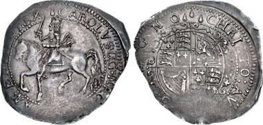 413565: STUART. Charles I. 1625-1649. Halfcrown. Hartlebury Castle, Worcester mint. Bull 679 (same dies); Brooker 1137 (same dies); North 2626; SCBC 3129. EF. Struck on usual irregular flan. Very rare.