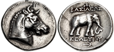 405234: SELEUKID EMPIRE. Seleukos I Nikator. 312-281 BC. Tetradrachm. Pergamon mint. SC 1.1; WSM 1528; HGC 9, 23. Good VF, toned, some marks and cleaning scratches. Very rare. From the Friend of a Scholar Collection.