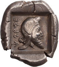 Lot 6: Stater, Lycia. Kherei, dynast. Ca. 440-400 BC. Mørkholm & Zahle II 55 (same die); SNG Cop. Suppl. 452. S. EF. Cabinet piece and beautiful patina. Very rare. 7850,- euros.