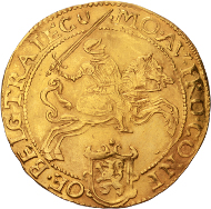 Lot 40: Utrecht. Early type of golden rider. 1608. Delm. 967 (R3); CNM 2.43.34. EF. Extremely rare. 3500,- euros.