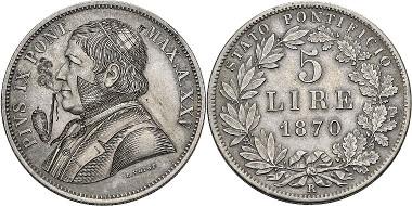 Pius IX. 5 lire 1870, Rome. Ex Peus Auction 412 (2014), 564.