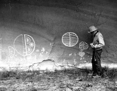 Petroglyphs, photograph taken in 1962.