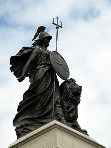The National Armada memorial in Plymouth depicting Britannia. Photograph: Wikicommons. Mageslayer 99 / https://creativecommons.org/licenses/by/3.0/deed.en