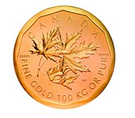 1100 kilograms - Canada, $1,000,000 CAD, Maple Leaf, 2007, Royal Canadian Mint, Ottawa. Gold, 100 kg. 530 mm, thickness 30 mm. Boris Fuchsmann.
