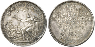 Medal 1743 by Wermuth on the centenary of liberation from Swedish rule by Torstensson on February 17, 1743. Künker 266 (2015), 1597.