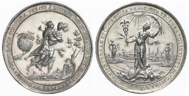 Medal 1644 at the start of peace negotiations by Dadler. The war goddess Bellona fights with the goddess of peace, Pax. Rv. the goddess of peace prevails over Mars, the god of war. Ex Künker Auction 120 (2007), 2538.