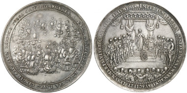 1644 medal on the Swedish naval victory over the Danish near Fehmarn, and on the Swedish queen's declaration of maturity by Dadler. Ex Künker Auction 266 (2015), 1985.