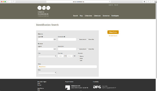 The CNT datase interface offers detailed search options.