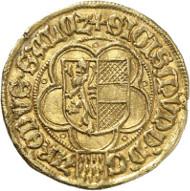 Lot 5502: SALZBURG. Sigismund of Volkersdorf, 1452-1461. Gold gulden n. d., Salzburg. 2nd specimen known to exist. Extremely fine. Estimate: 75,000,- euros. Hammer price: 85,000,- euros.