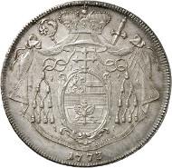 Nr. 5727: SALZBURG. Hieronymus von Colloredo, 1772-1803. Löwentaler 1790. Aus Auktion Leu 75 (1999), 1100. Äußerst selten. Fast Stempelglanz. Taxe: 75.000,- Euro. Zuschlag: 85.000,- Euro.