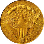 Lot 55: 1796 Capped Bust Right Quarter Eagle. No Stars. BD-2. Rarity-4. MS-61 (PCGS). CAC-Gold Label. OGH. Price Realized: $352,500.00.