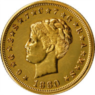 Lot 110: 1880 Four-Dollar Gold Stella. Coiled Hair. Judd-1660, Pollock-1860. Rarity-6. Gold. Reeded Edge. Proof. Unc Details--Polished (PCGS). Secure Holder. Price Realized: $258,500.00.
