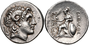 Lot 33: KINGS of THRACE, Macedonian. Lysimachos. 305-281 BC. Tetradrachm. Lampsakos mint. Struck 297/6-282/1 BC. Thompson 61 var. (monogram); Müller 392; SNG France 2545. Near EF. From the collection of Dr. Will Gordon. Estimate $1500.