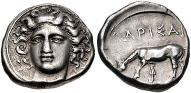Lot 77: THESSALY, Larissa. Circa 405/0-370 BC. Drachm. L-S Group 7, Head Type 30 (O136/R1); cf. BCD Thessaly II 270 (same obv. die). Good VF. From the BCD Collection. Estimate $300.