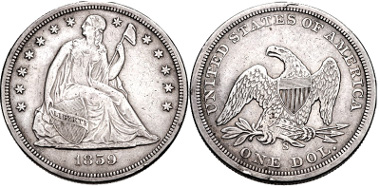 Lot 428: 1859 S Liberty Seated Dollar. Near VF. Low mintage of only 20,000 pieces. Estimate $500.
