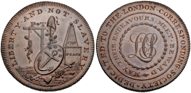 Lot 513: TRADE TOKENS, Middlesex. London Corresponding Society. CU Half Penny. Dated 1796. D&H 290. AU, mostly brown with some red. Estimate $300.