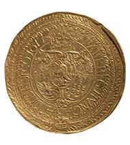 Goldgigant (100 Dukaten) des siebenbürgischen Fürsten Michael I. Apafi von 1677. 347 g, 85 mm. Münzkabinett des Kunsthistorischen Museums Wien.