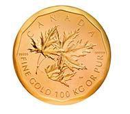 Big Maple Leaf, das größte Goldnugget der Welt - 1.000.000 Dollar, Kanada, 2007. 100.000 g, 530 mm. Privatbesitz.