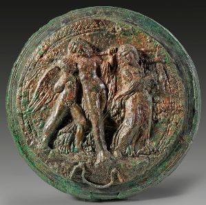 Lot 53: Lid of an Etruscan folding mirror. 3rd cent. BC. In the field a group consisting of Dionysus, Eros and a maenad. Green patina, locking mechanism is lacking. Estimate: 11,000,- euros. Provenance: German private collection. Acquired by Dr Leo Mildenberg on the Swiss art market in the 1970s/1980s. Published in: I. Jucker, Italy of the Etruscans. Exhibition Jerusalem (1991) 116 f. Cat. nr. 126.
