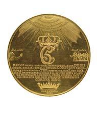 Der Goldgigant der historischen Prägemedaille: Prunkmedaille zu 360 Dukaten König Christians V. von Dänemark, 1677, 1.259 g, 129 mm. Münzkabinett des Kunsthistorischen Museums Wien.