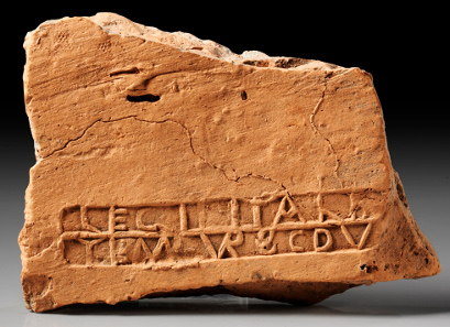 Lot 459: Tile fragment with stamp of Legio II Italica with mention of the Dux Pannoniae. Second third 4th cent. AD. Estimate: 800,- euros. Provenance: Ex Bavarian private collection; acquired ex. Fritzemeier Coll. in the 1970s.