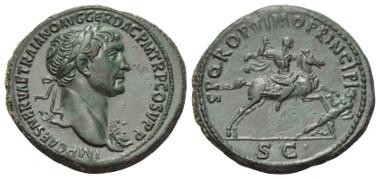 Lot 239: TRAIANUS (98-117 AD). Sestertius. 104-107 AD. Rome.