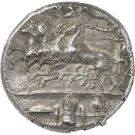 Lot 8135: GREEKS. Sicily. Syracuse. Decadrachm, after 405, signed by Euainetos. Virzi Coll., ex Hirsch Auction 32 (1912), 322. Very rare. Extremely fine. Estimate: 50,000,- euros. Hammer price: 100,000,- euros.