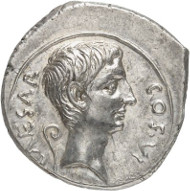Lot 8549: ROMAN IMPERIAL TIMES. Augustus, 30 BC - AD 14. Denarius, 28 BC, Italian mint. Ex Tkalec Auction (2011), 134. Very rare. Extremely fine to FDC. Estimate: 35,000,- euros. Hammer price: 55,000,- euros.