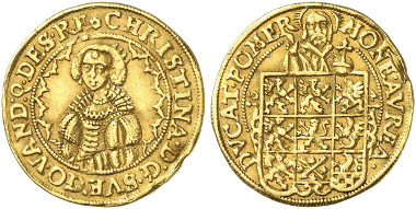Pomerania under Swedish control. Christina, Ducat 1641, Stettin. Ex Künker Auction 269 (2015), 6926.