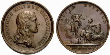 Medal from 1682 on the territories gained thanks to the Peace of Westphalia. Ex Rauch Auction 84 (2009), 1785.