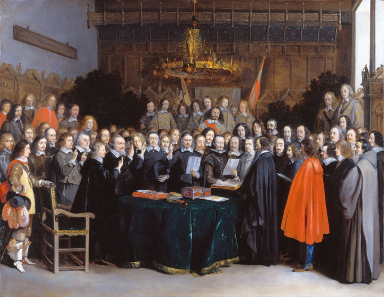Gerard ter Borch, The Ratification of the Treaty of Münster 1648. Spanish and Dutch envoys swear the oath of ratification of their separate peace.