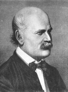 Ignaz Semmelweis 1860. Copper plate engraving by Jenö Doby.
