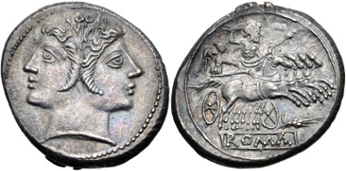 Lot 11: Anonymous. Circa 214 BC. Didrachm - Quadrigatus. Mint in Sicily. Crawford 42/1; Hersh, Quadrigatus 11a; Sydenham 66; RBW 137; RSC 24a. EF. Rare. From the RBW Collection. Estimate $1000.