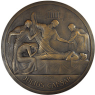 Lot 328: GREAT BRITAIN. The Death of Caesar. Large Plaque. By Paul Vincze. Caesar on deathbed, surrounded by four mourners / Blank. As Made. From the RBW Collection. Estimate $500.