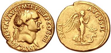 Lot 558: Vespasian. AD 69-79. Aureus. Lugdunum (Lyon) mint. Struck AD 72. RIC II 1180; Lyon 56; Calicó 656 (same dies). VF. Estimate $4000.
