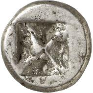 Nr. 178: ATHEN (Attika). Wappenmünzen. Didrachme, 545-525/515. Sehr selten. Vorzüglich. Taxe: 15.000,- Euro. Zuschlag: 42.000,- Euro.