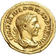 Nr. 467: RÖMISCHE KAISERZEIT. Philippus Arabs, 244-249. Aureus, 244-247, Rom. Stempelglanz. Taxe: 32.000,- Euro. Zuschlag: 46.000,- Euro.