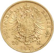 Nr. 4415: SACHSEN-COBURG-GOTHA (Kaiserreich). Ernst II., 1844-1893. 20 Mark 1872 E. Äußerst selten. Fast vorzüglich / Vorzüglich. Taxe: 65.000,- Euro. Zuschlag: 85.000,- Euro.
