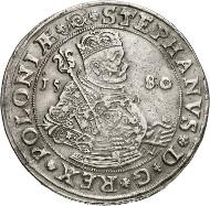 Nr. 4854: POLEN. Stephan Bathory, 1576-1586. Taler 1580, Olkusz. Äußerst selten. Fast vorzüglich. Taxe: 50.000,- Euro. Zuschlag: 90.000,- Euro.