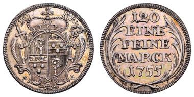 Los 1420: Eichstätt, Johann Anton II. von Freyberg, 1736-1757. 10 Kreuzer. Ausruf: 350 Euro, Zuschlag: 2.100 Euro.