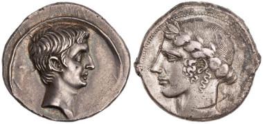 Left: denarius of Augustus, ANS 1957.172.1500. Right: tetradrachm of Leontini, ANS 1997.9.121.