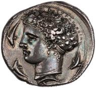 Silver decadrachm, 405-400 BCE, ANS, 1964.79.21.